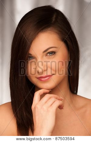 Beauty Studio Portrait Of Attractive Caoucasian Woman With Brown Hair
