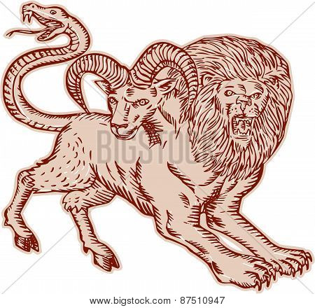 Etching engraving handmade style Illustration of a Chimera Greek mythical creature with head of a lion and goat and tail that ended in a snake's head viewed from side on isolated background. poster