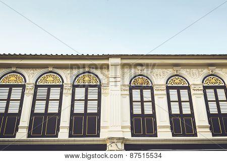 Vintage Window Or Sino-portuguese Style In Phuket, Thailand