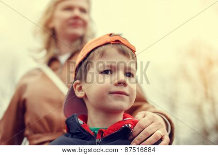 Mother With Little Boy In Vintage Style