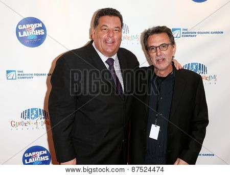 NEW YORK-MAR 28: Actor Steve Schirripa (L) and guest attend the 2015 Garden Of Laughs Comedy Benefit at the Club Bar and Grill at Madison Square Garden on March 28, 2015 in New York City.