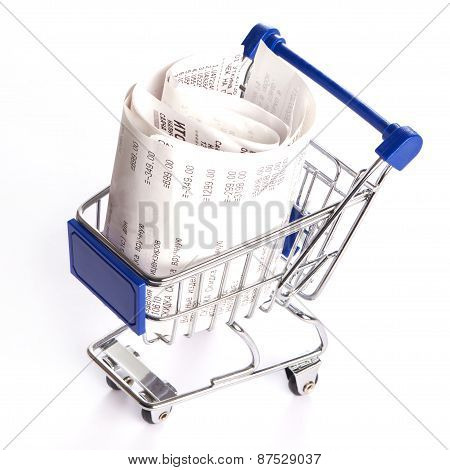 Shopping Trolley With Receipts Isolated