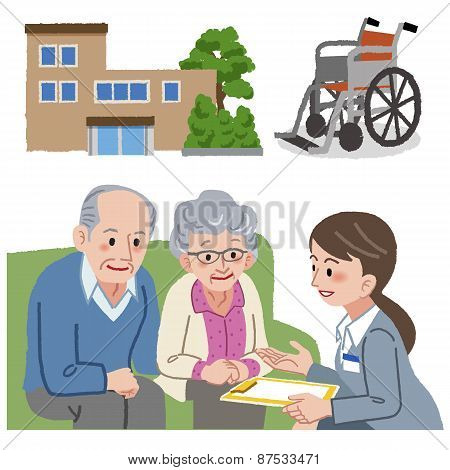 Elderly Couple And Geriatric Care Manager