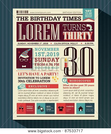 Happy Birthday Party card vector design layout in newspaper style poster