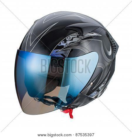 Black pattern helmet Isolated on white background,helmet motorcycle,racing helmet.