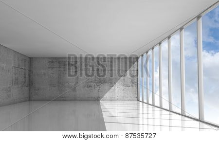 Abstract Architecture Background, Empty White 3D Interior