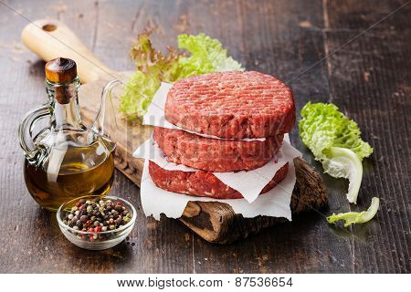 Raw Ground Beef Meat Burger Steak Cutlets And Seasonings On Dark Wooden Background