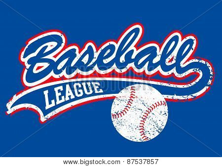 Distressed Baseball Script With A Baseball