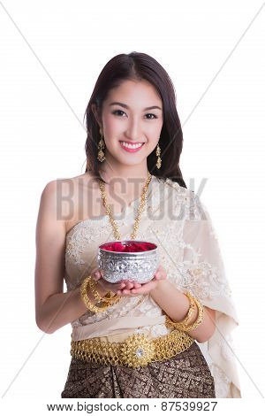 Thai Lady With Songkran Festival Concept