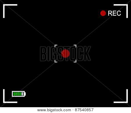 Camera Background, Camera Viewfinder With Cross Hair, Target Mark, Rec Label And Battery Level Indic