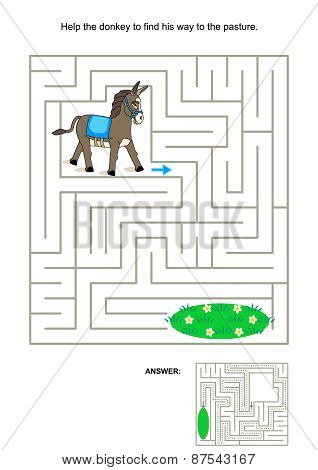 Maze game for kids - donkey