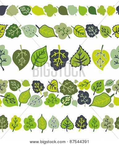 Green leaves seamless border pattern set.Stylized leaf