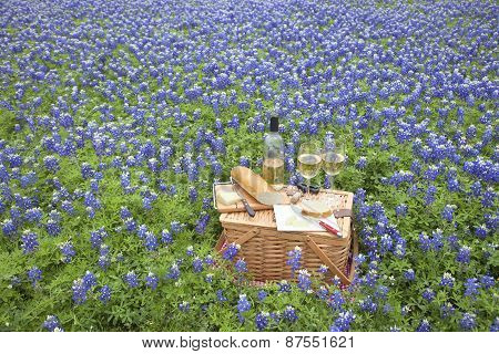 Picnic Basket With Wine, Cheese And Bread In A Texas Hill Country Bluebonnet Field
