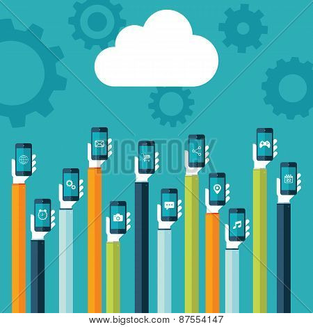 Cloud icon and hands holding smart phones with web icons on screen.