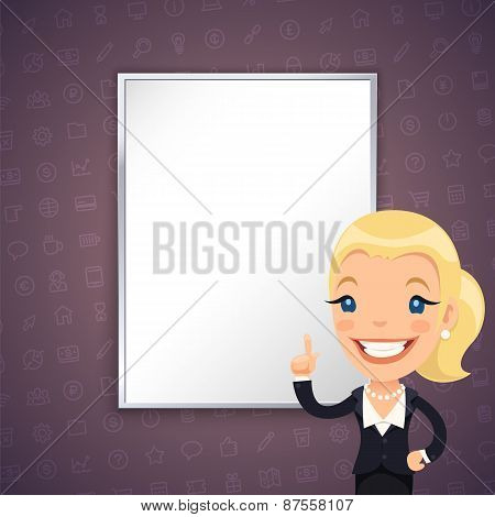 Purple Business Background with Businesswoman