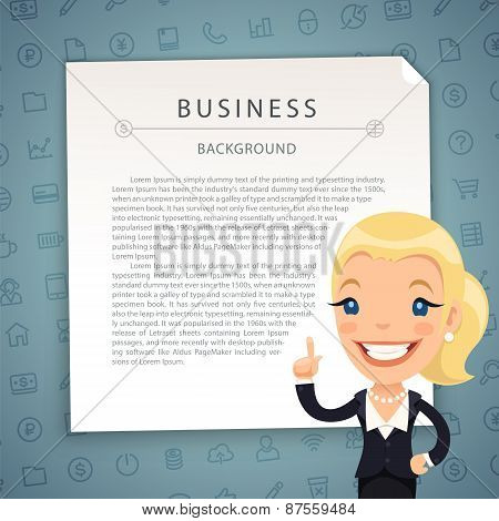 Aquamarine Business Background with Business-Lady