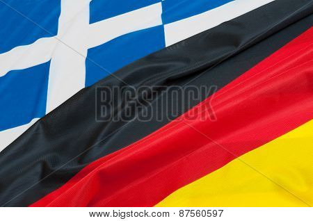 Flags Of Germany And Greece.