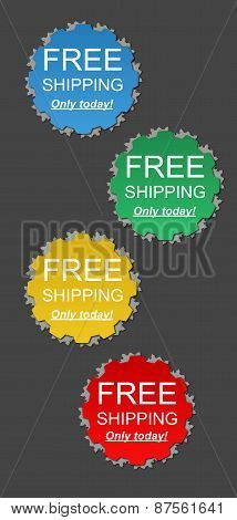 Colored free business shipping offer with text poster