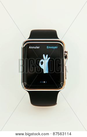 Apple Watch with emoji ok on display