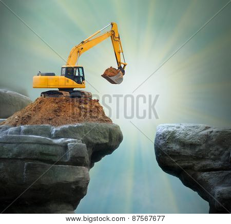 Excavator digging big hole.