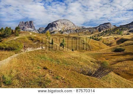 View of cima del passo. Falzarego path, Dolomites