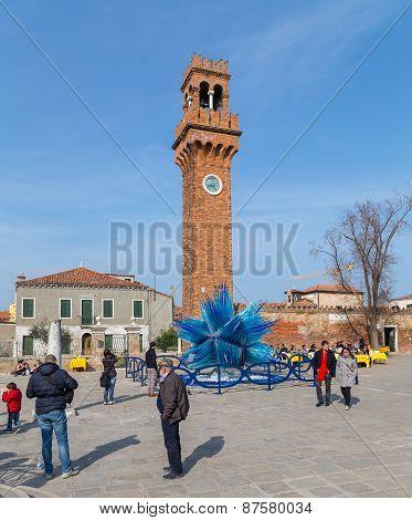 Clock Tower And Glass Sculture In Campo Santo Stefano In Murano