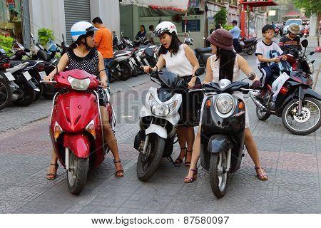 Young Women On Motorbike