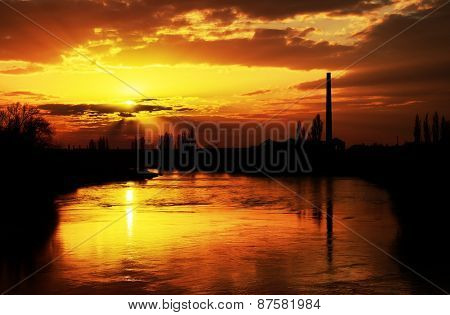 Sunset light over Mures river, Arad, Romania