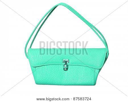Turquoise purse isolated on white background