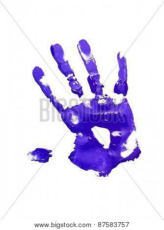 Blue handprint on white background