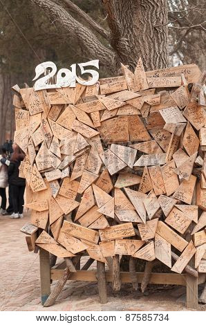 Tourist Wrote Message On Art Wood Board
