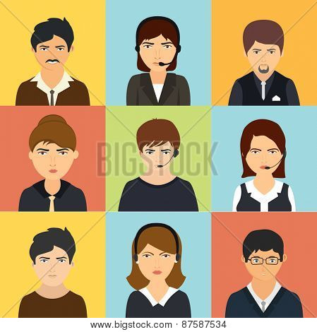 Colorful set of young business men and women's characters.
