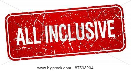 All Inclusive Red Square Grunge Textured Isolated Stamp