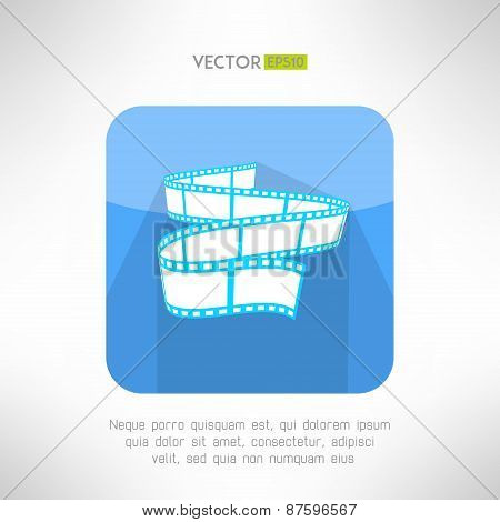 Cinema footage tape icon in modern clean and simple flat design. Modern movie theater sign. Vector i