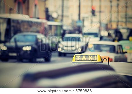 Taxi On City Streets With A Digital Retro Effect