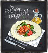 Grilled salmon steak on a plate with lime, cherry tomatoes and broccoli served with sauce, hand drawn illustration on a chalkboard. Bon appetit. poster