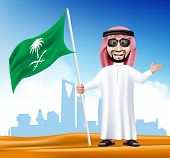 3D Handsome Saudi Arab Man in Traditional Dress With Shades Stand Holding National Flag of Saudi Arabia with Famous Buildings at the Back of Desert. Editable Vector Illustration poster