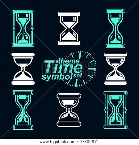 Eps8 high quality vector sand-glass illustrations. Set of antique classic hourglasses. Retro clocks