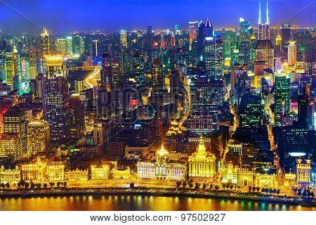 Beautiful View Of  Shanghai -  Bund Or Waitan Waterfront At Night.