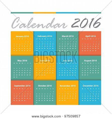 Calendar 2016 Vector Design