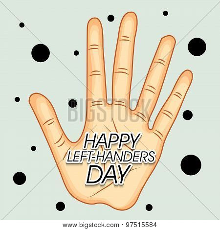 illustration of a Hand and stylish text for Happy Left Handers Day. poster