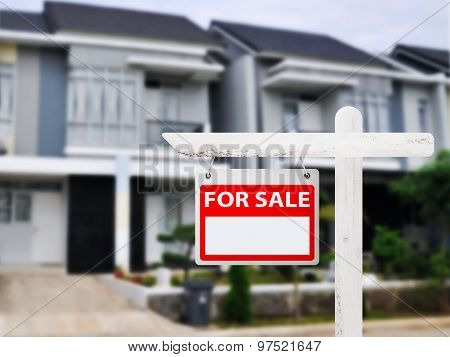 House For Sale Board With House Background