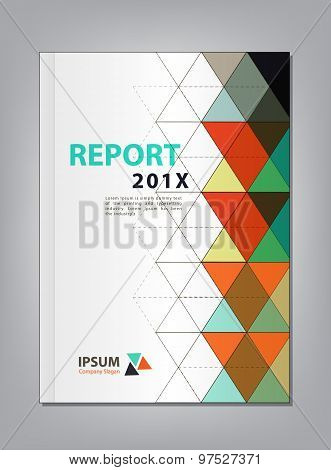 Modern Annual Report Cover Design Vector, Multiply Triangle  The