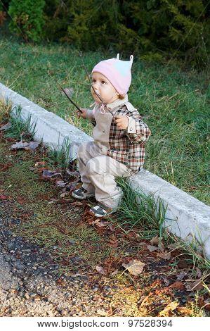 Portrait of a cute little boy outdoors