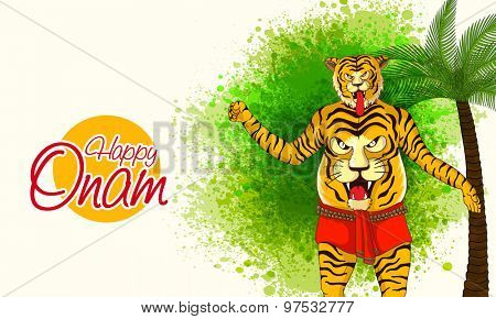 Illustration of a man in Tiger Dance (Puli Kali) dress up on green color splash background for South Indian festival, Happy Onam celebration.