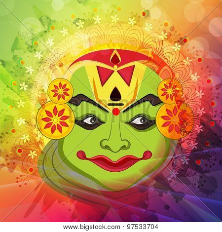 Beautiful Kathakali dancer face on shiny colorful floral design decorated background for South Indian festival, Happy Onam celebration.