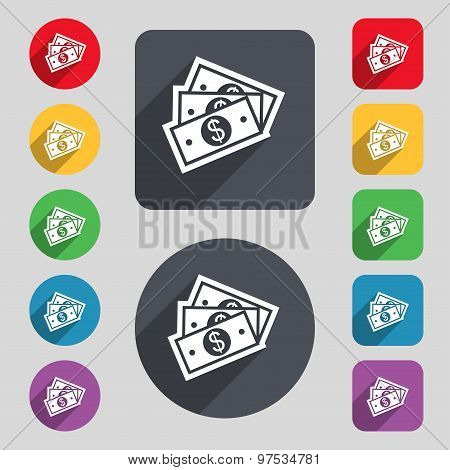 U.s Dollar Icon Sign. A Set Of 12 Colored Buttons And A Long Shadow. Flat Design. Vector