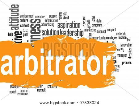 Arbitrator Word Cloud With Orange Banner