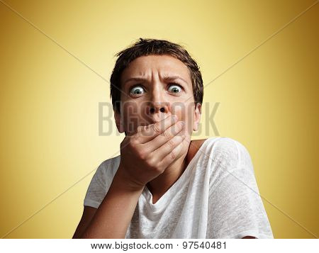 Shocked Woman Close Up The Mouth With Hand