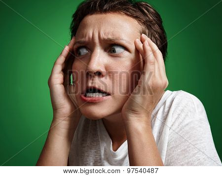 Woman With Crazy Surprised Face, Touching Head